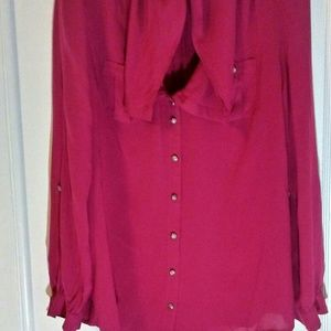 Anthropologie Odille fushia blouse